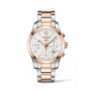 Heren horloge uit de Longines Conquest Classic collection - uitgevoerd met een Rose / Staal PVD kast en band en een witte wijzerplaat - voorzien van een automatisch uurwerk met chronograph functie - waterdicht tot 50 meter - De Longines collectie is verkrijgbaar bij Sparnaaij Juweliers in Aalsmeer