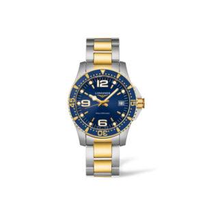 Dames horloge uit de Longines HydroConquest collection - uitgevoerd met een bicolour kast en band - een blauwe wijzerplaat en lunette - voorzien van een quartz uurwerk en een saffier glas - waterdicht tot 300 meter - De Longines collectie is verkrijgbaar bij Sparnaaij Juweliers in Aalsmeer
