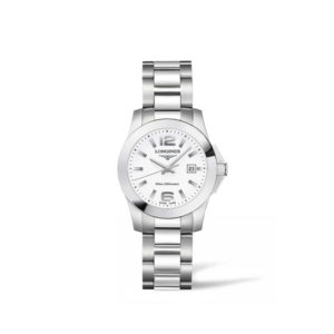 Dames horloge uit de Longines Conquest collection - uitgevoerd met stalen kast en band - een witte wijzerplaat - voorzien van een quartz uurwerk - De Longines collectie is verkrijgbaar bij Sparnaaij Juweliers in Aalsmeer