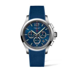Heren horloge uit de Conquest VHP collection - uitgevoerd met een blauw rubber band, een blauwe wijzerplaat en een stalen kast - voorzien van een Very High Precision Quartz uurwerk met chronograph functie - De Longines collectie is verkrijgbaar bij Sparnaaij Juweliers in Aalsmeer