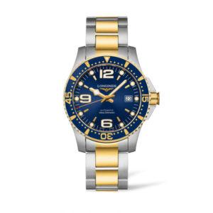 Heren horloge uit de Longines HydroConquest collection - uitgevoerd met een bicolour band en kast en een blauwe wijzerplaat en lunette - voorzien van een automatsich uurwerk en een saffier glas - De Longines collectie is verkrijgbaar bij Sparnaaij Juweliers in Aalsmeer