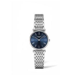 Dames horloge uit de Longines La Grande Classique collection - uitgevoerd met een stalen kast en band en een blauwe wijzerplaat - voorzien van een quartz uurwerk en een saffier glas - De Longines collectie is verkrijgbaar bij Sparnaaij Juweliers in Aalsmeer