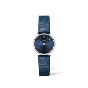 Dames horloge uit de Longines La Grande Classique collection - uitgevoerd met een stalen kast, een blauw ledern band en een blauwe wijzerplaat - voorzien van een quartz uurwerk en een saffier glas - De Longines collectie is verkrijgbaar bij Sparnaaij Juweliers in Aalsmeer