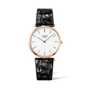 Heren horloge uit de Longines La Grande Classique collection - uitgevoerd met een rose kleurige pvd kast en een zwart lederen band - voorzien van een witte wijzerplaat en een quartz uurwerk - De Longines collectie is verkrijgbaar bij Sparnaaij Juweliers in Aalsmeer