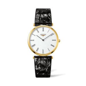 Dames horloge uit de Longines La Grande Classique collection - uitgevoerd met een geel PVD kast, een zwart lederen band en een witte wijzerplaat - voorzien van een quartz uurwerk en een saffier glas - De longines collectie is verkrijgbaar bij Sparnaaij Juweliers in Aalsmeer