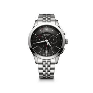 Heren horloge uit de Victorinox Allance Chronograph collection - uitgevoerd met een stalen band en kast en een grijze wijzerplaat - voorzien van een quartz uurwerk met een chronograph functie - waterdicht tot 100 meter - De Victorinox collectie is verkrijgbaar bij Sparnaaij Juweliers in Aalsmeer