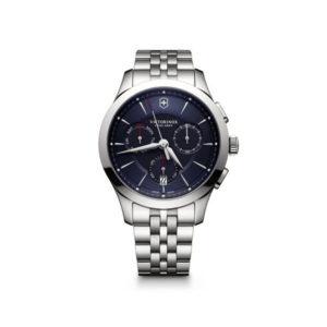 Heren horloge uit de Victorinox Allance Chronograph collection - uitgevoerd met een stalen band en een stalen kast met een blauwe wijzerplaat - voorzien van een quartz uurwerk met een chronograph functie - De Victorinox collectie is verkrijgbaar bij Sparnaaij Juweliers in Aalsmeer