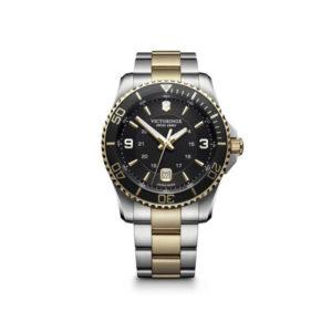 Heren horloge uit de Victorinox Maverick collection - uitgevoerd met een bicolour band en kast en een zwarte wijzerplaat en lunette - voorzien van een quartz uurwerk en waterdicht tot 100 meter - De Victorinox collectie is verkrijgbaar bij Sparnaaij Juweliers in Aalsmeer