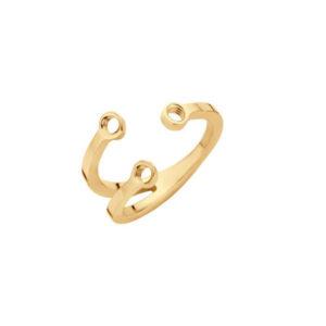 Melano twisted trio stone ring goudkleurig - Te koop bij Sparnaaij Juweliers in Aalsmeer en Hoofddorp