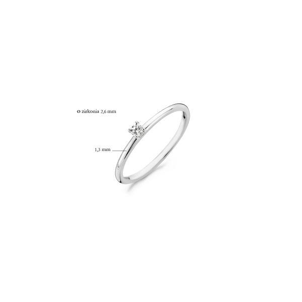 14K witgouden ring van Blush met een zirkonia steen in het midden - Te koop bij Sparnaaij Juweliers in Aalsmeer en Hoofddorp