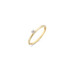 14K geelgouden ring van Blush met een zirkonia steen in het midden - Te koop bij Sparnaaij Juweliers in Aalsmeer en Hoofddorp