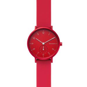 Skagen horloge met rood siliconen band en aluminium rode wijzerplaat - Te koop bij Sparnaaij Juweliers in Hoofddorp en Aalsmeer