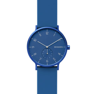 Skagen horloge met blauwe siliconen band en aluminium blauwe wijzerplaat - Te koop bij Sparnaaij Juweliers in Hoofddorp en Aalsmeer