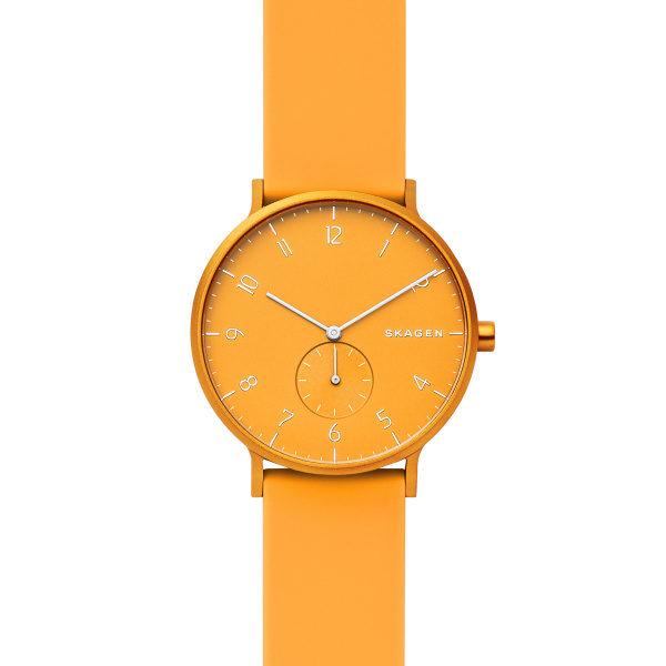 Skagen horloge met gele siliconen band en aluminium gele wijzerplaat - Te koop bij Sparnaaij Juweliers in Hoofddorp en Aalsmeer