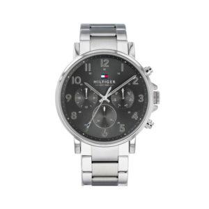 Tommy Hilfiger herenhorloge - Horloge met zilverkleurige RVS band en grijze wijzerplaat - Te koop bij Sparnaaij Juweliers in Aalsmeer