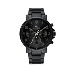 Tommy Hilfiger herenhorloge - Horloge met zwarte RVS band en zwarte wijzerplaat - Te koop bij Sparnaaij Juweliers in Aalsmeer