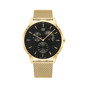 Tommy Hilfiger herenhorloge - Horloge met goudkleurige RVS band en zwarte wijzerplaat- Te koop bij Sparnaaij Juweliers in Aalsmeer