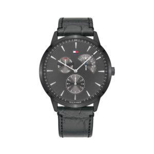 Tommy Hilfiger herenhorloge - Horloge met grijs leren band en met grijze wijzerplaat - Te koop bij Sparnaaij Juweliers in Aalsmeer