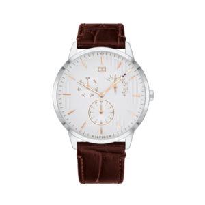 Tommy Hilfiger herenhorloge - Horloge met bruin leren band, zilveren kast en witte wijzerplaat - Te koop bij Sparnaaij Juweliers in Aalsmeer