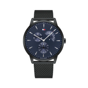 Tommy Hilfiger herenhorloge - Horloge met zwarte RVS band en zwarte wijzerplaat- Te koop bij Sparnaaij Juweliers in Aalsmeer