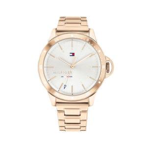 Tommy Hilfiger horloge - Rosekleurig horloge met een witte wijzerplaat - Te koop bij Sparnaaij Juweliers in Aalsmeer