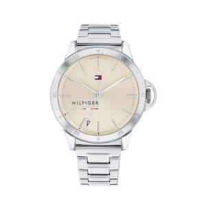 Tommy Hilfiger horloge - Zilverkleurig horloge met beige wijzerplaat gemaakt van Staal - Te koop bij Sparnaaij Juweliers in Aalsmeer