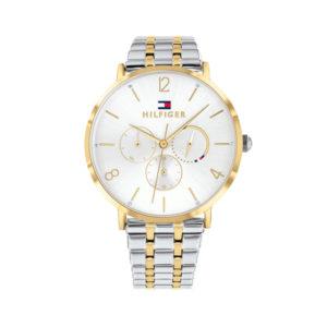 Tommy hilfiger bicolor horloge, zilverkleurig en goudkleurig met een witte wijzerplaat - Te koop bij Sparnaaij Juweliers in Aalsmeer