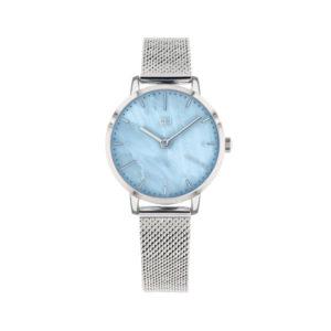 Tommy Hilfiger horloge met zilverkleurige band en een blauwe wijzerplaat - Te koop bij Sparnaaij Juweliers in Aalsmeer