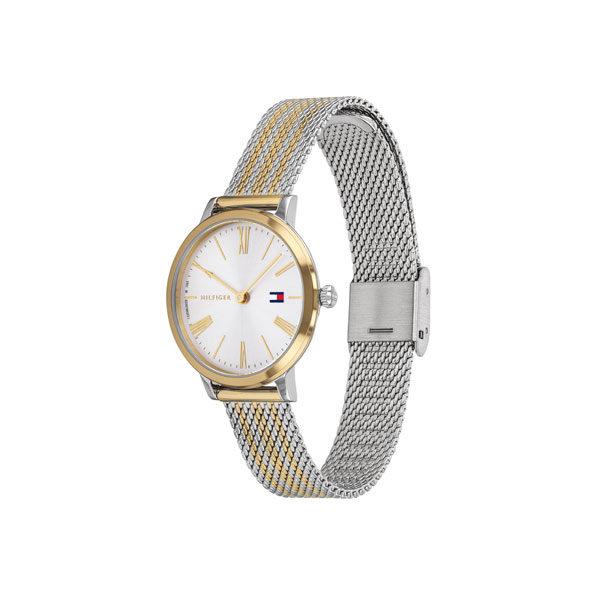 Tommy Hilfiger dameshorloge - Horloge met zilver en goudkleurige rvs band met witte wijzerplaat - Te koop bij Sparnaaij Juweliers in Aalsmeer