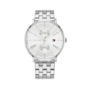 Tommy Hilfiger dameshorloge - Horloge met zilverkleurige rvs band met witte wijzerplaat - Te koop bij Sparnaaij Juweliers in Aalsmeer