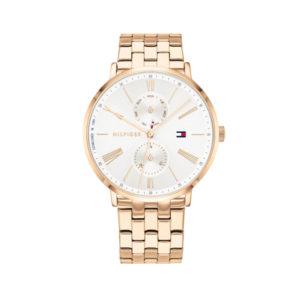 Tommy Hilfiger dameshorloge - Horloge met roségoudkleurige rvs band met witte wijzerplaat - Te koop bij Sparnaaij Juweliers in Aalsmeer
