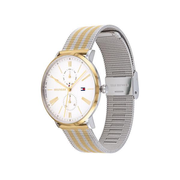 Tommy Hilfiger dameshorloge - Horloge met goud en zilverkleurige rvs band met witte wijzerplaat - Te koop bij Sparnaaij Juweliers in Aalsmeer