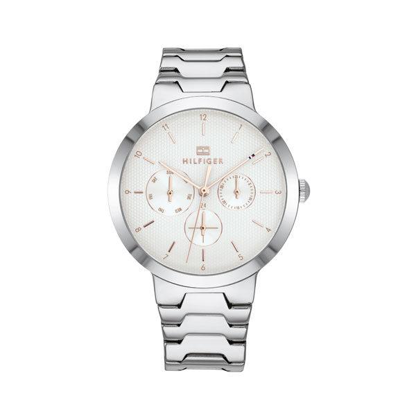 Tommy Hilfiger dameshorloge - Horloge met zilverkleurige rvs band met witte wijzerplaat met roségoudkleurige details - Te koop bij Sparnaaij Juweliers in Aalsmeer