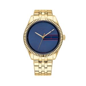 Tommy Hilfiger dameshorloge - Horloge met goudkleurige rvs band met blauwe wijzerplaat - Te koop bij Sparnaaij Juweliers in Aalsmeer