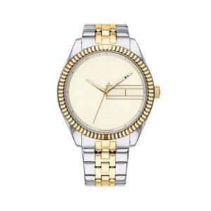 Tommy Hilfiger dameshorloge - Horloge met zilver en goudkleurige rvs band met beige wijzerplaat - Te koop bij Sparnaaij Juweliers in Aalsmeer