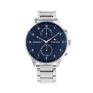 Tommy Hilfiger herenhorloge - Horloge met zilveren RVS band en blauwe wijzerplaat- Te koop bij Sparnaaij Juweliers in Aalsmeer