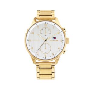 Tommy Hilfiger herenhorloge - Horloge met goudkleurige RVS band en witte wijzerplaat- Te koop bij Sparnaaij Juweliers in Aalsmeer