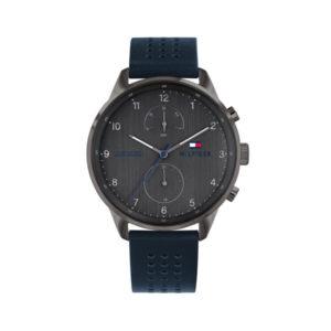 Tommy Hilfiger herenhorloge - Horloge met blauw leren band en grijze wijzerplaat - Te koop bij Sparnaaij Juweliers in Aalsmeer