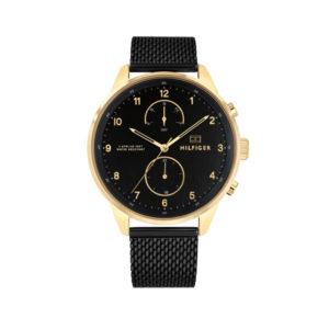 Tommy Hilfiger herenhorloge - Horloge met zwarte RVS band en zwarte wijzerplaat met goudkleurige details- Te koop bij Sparnaaij Juweliers in Aalsmeer