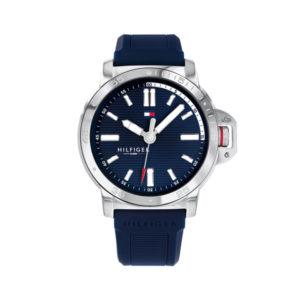 Tommy Hilfiger herenhorloge - Horloge met een blauwe siliconen band en een zilverkleurige kast - Te koop bij Sparnaaij Juweliers in Aalsmeer
