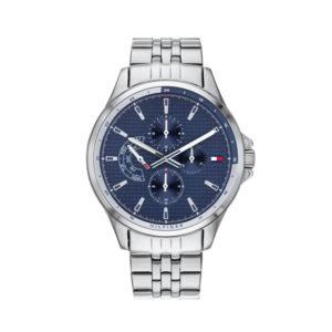 Tommy Hilfiger herenhorloge - Horloge met zilverkleurige rvs band met blauwe wijzerplaat - Te koop bij Sparnaaij Juweliers in Aalsmeer