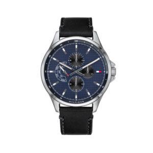 Tommy Hilfiger horloge zwart met blauwe wijzerplaat en leren band - Te koop bij Sparnaaij Juweliers in Aalsmeer