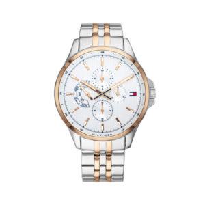 Tommy Hilfiger herenhorloge - Horloge met zilveren rvs band met gouden details en witte wijzerplaat - Te koop bij Sparnaaij Juweliers in Aalsmeer