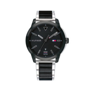 Tommy Hilfiger herenhorloge - Horloge met zwarte rvs band met zilverkleurige accenten en zware met zilveren wijzerplaat - Te koop bij Sparnaaij Juweliers in Aalsmeer