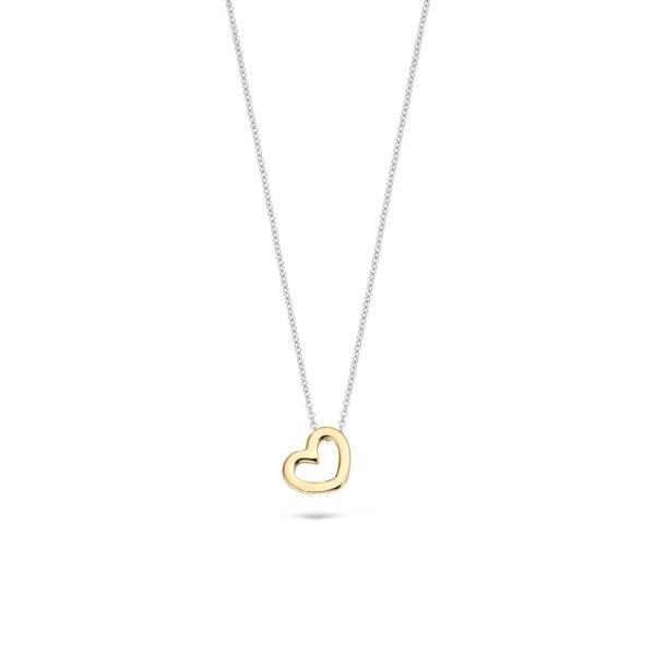 14K bicolor gouden collier van Blush met een hartvormige hanger - Te koop bij Sparnaaij Juweliers in Aalsmeer en Hoofddorp