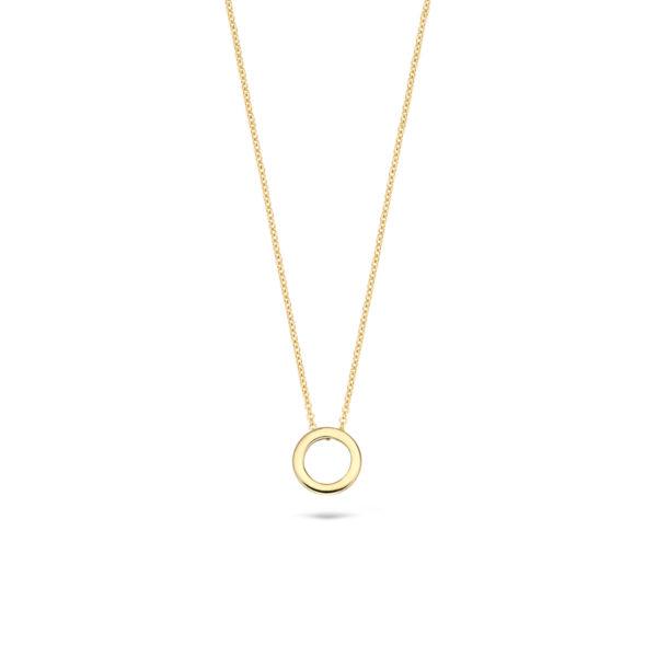 14K geelgouden collier van Blush met een ronde open hanger - Te koop bij Sparnaaij Juweliers in Aalsmeer en Hoofddorp