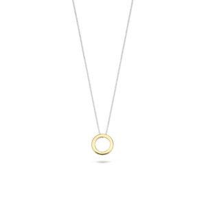 14K bicolor gouden collier van Blush met een ronde open hanger - Te koop bij Sparnaaij Juweliers in Aalsmeer en Hoofddorp