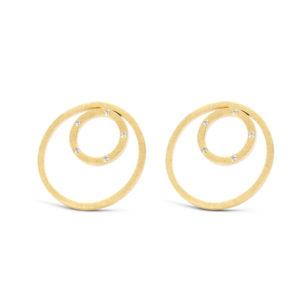 Spirit icons goudkleurige ronde oorknoppen met zirkonia - Te koop bij Sparnaaij Juweliers in Aalsmeer en Hoofddorp