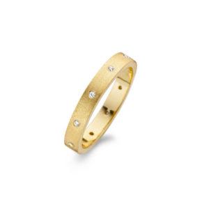 Goudkleurige Spirit Icons ring met zirkonia stenen - Te koop bij Sparnaaij Juweliers in Aalsmeer en Hoofddorp