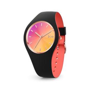 Ice-Watch dameshorloge- Horloge met zwart siliconen band met roze wijzerplaat Te koop bij Sparnaaij Juweliers in Aalsmeer